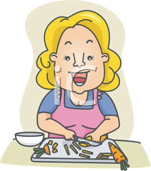 Royalty Free Clipart Image of a Woman Slicing Carrots