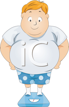 Royalty Free Clipart Image of a Man With a Big Belly Standing on Scales