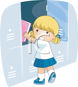 Royalty Free Clipart Image of a Girl in School Uniform Putting a Book in a Locker