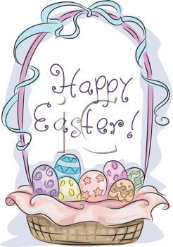 Royalty Free Clipart Image of an Easter Basket Full of Eggs With the Message