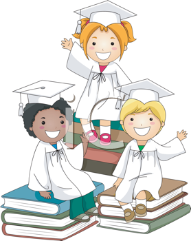 Royalty Free Clipart Image of Graduates Sitting on Books