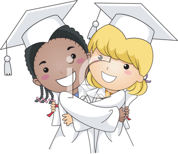 Royalty Free Clipart Image of Two Graduates Hugging