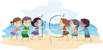 Royalty Free Clipart Image of a Tug of War