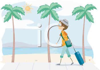 Royalty Free Clipart Image of a Man on a Beach With a Suitcase