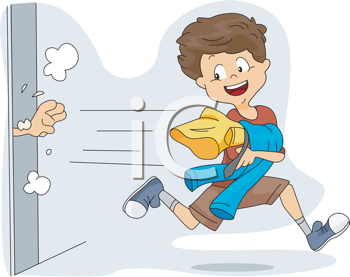 Royalty Free Clipart Image of a Child Stealing Clothes