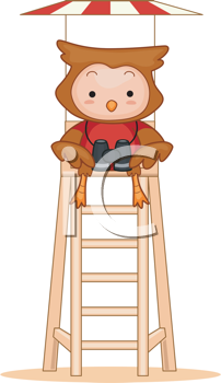 Royalty Free Clipart Image of an Owl Lifeguard