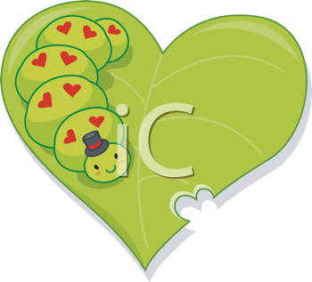 Royalty Free Clipart Image of a Caterpillar on a Leaf