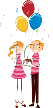 Royalty Free Clipart Image of Twins Celebrating a Birthday
