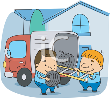 Royalty Free Clipart Image of Line Installers