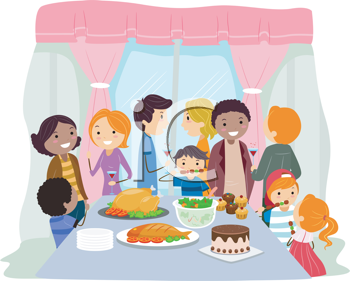 Royalty Free Clipart Image of a House Party