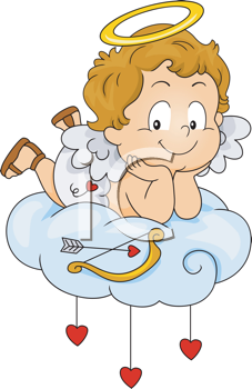 Royalty Free Clipart Image of a Baby Cupid on a Cloud