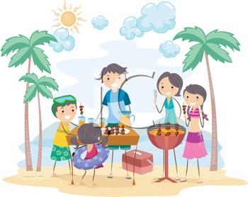 Royalty Free Clipart Image of a Family Outing