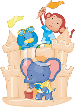 Royalty Free Clipart Image of Monkeys in a Sandcastle