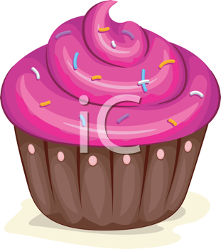 Royalty Free Clipart Image of a Cupcake With Sprinkles