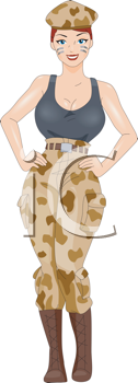 Royalty Free Clipart Image of a Pin-Up Girl in Camouflage