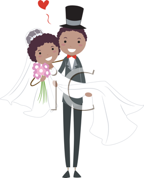 Royalty Free Clipart Image of a Groom Carrying His Bride