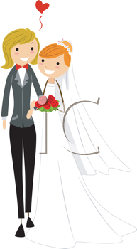 Royalty Free Clipart Image of a Lesbian Couple