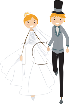 Royalty Free Clipart Image of Newlyweds on the Run