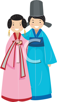 Royalty Free Clipart Image of a Newlywed Korean Couple
