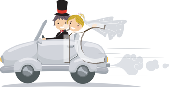 Royalty Free Clipart Image of a Newlywed Couple in a Car