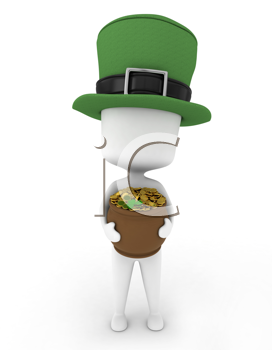 3D Illustration of a Man Carrying a Pot of Gold