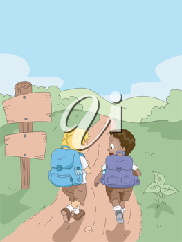 Illustration of Kids Hiking in a Camp