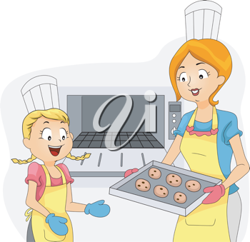 Illustration of a Kid Helping Out with the Baking