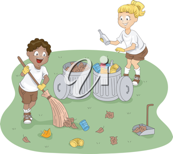 Illustration of Kids Cleaning a Camp
