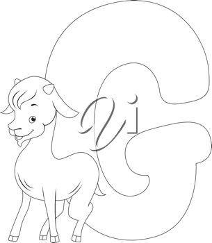 Coloring Page Illustration Featuring a Goat