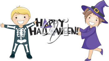 Illustration of Kids Giving a Halloween Greeting