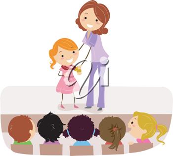 Illustration of a Kid Accepting Her Medal