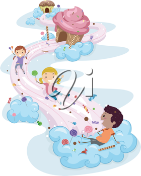 Illustration of Kids Playing in a Candy Land