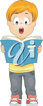 Illustration of a Kid Reading a Book Out Loud