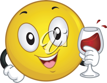 Illustration of a Smiley Doing a Toast