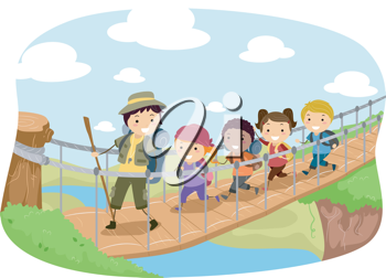 Illustration of Campers Crossing a Hanging Bridge