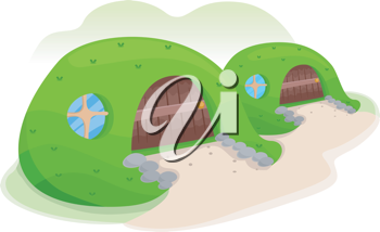 Illustration of an Earth Sheltered House Covered with Grass