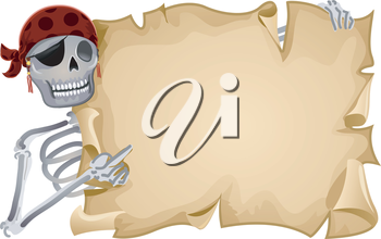 Royalty Free Clipart Image of a Pirate Skeleton Holding a Blank Paper
