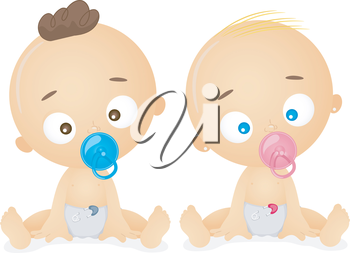 Royalty Free Clipart Image of Babies With Pacifiers