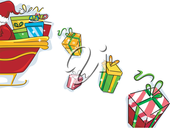 Royalty Free Clipart Image of Gifts Falling From Santa's Sleigh