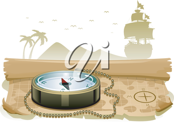 Royalty Free Clipart Image of a Compass on a Treasure Map