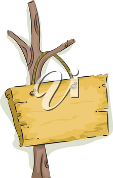 Royalty Free Clipart Image of a Wooden Sign on a Tree