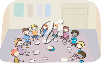 Royalty Free Clipart Image of Children Doing Work in a Circle in a Classroom