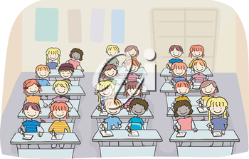 Royalty Free Clipart Image of Children in School