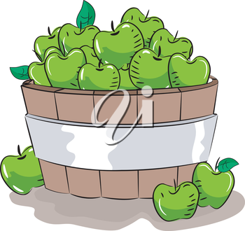 Royalty Free Clipart Image of a Basket of Green Apples