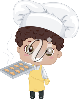 Royalty Free Clipart Image of a Little Baker