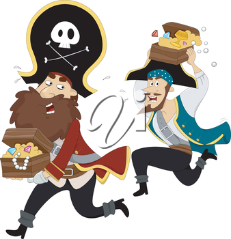 Royalty Free Clipart Image of Pirates Running Away With Treasure