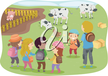 Illustration of Stickman Kids in a School Trip to a Farm