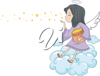 Illustration of a Girl Angel Blowing Stars