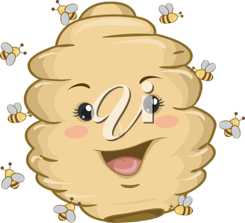 Illustration of Beehive Mascot with Bees