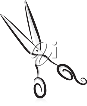 Illustration of Tailor's Scissors in Black and White